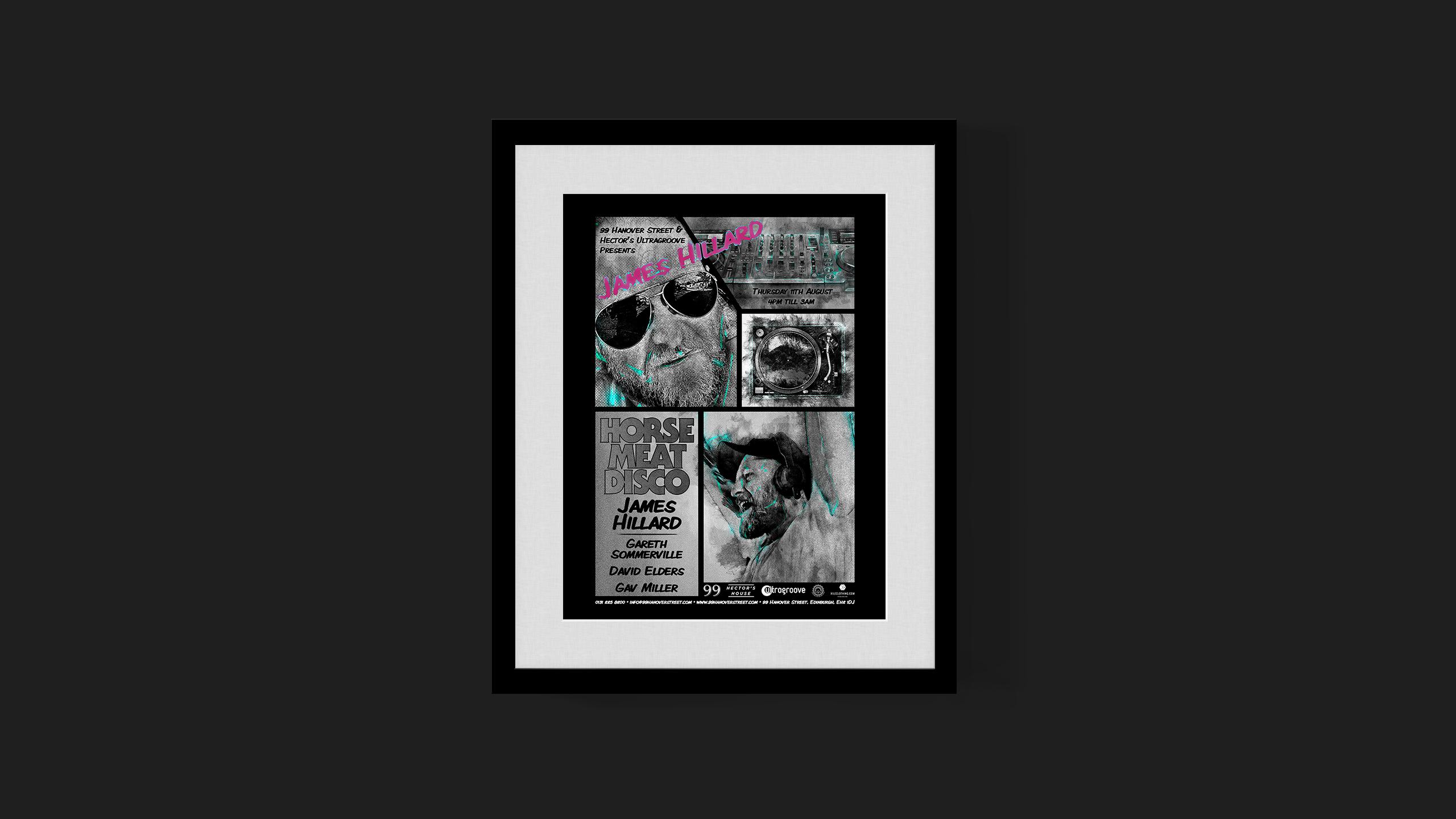 James Hillard — Horse Meat Disco poster created 99 Hanover Street, Edinburgh Fringe Festival '16
