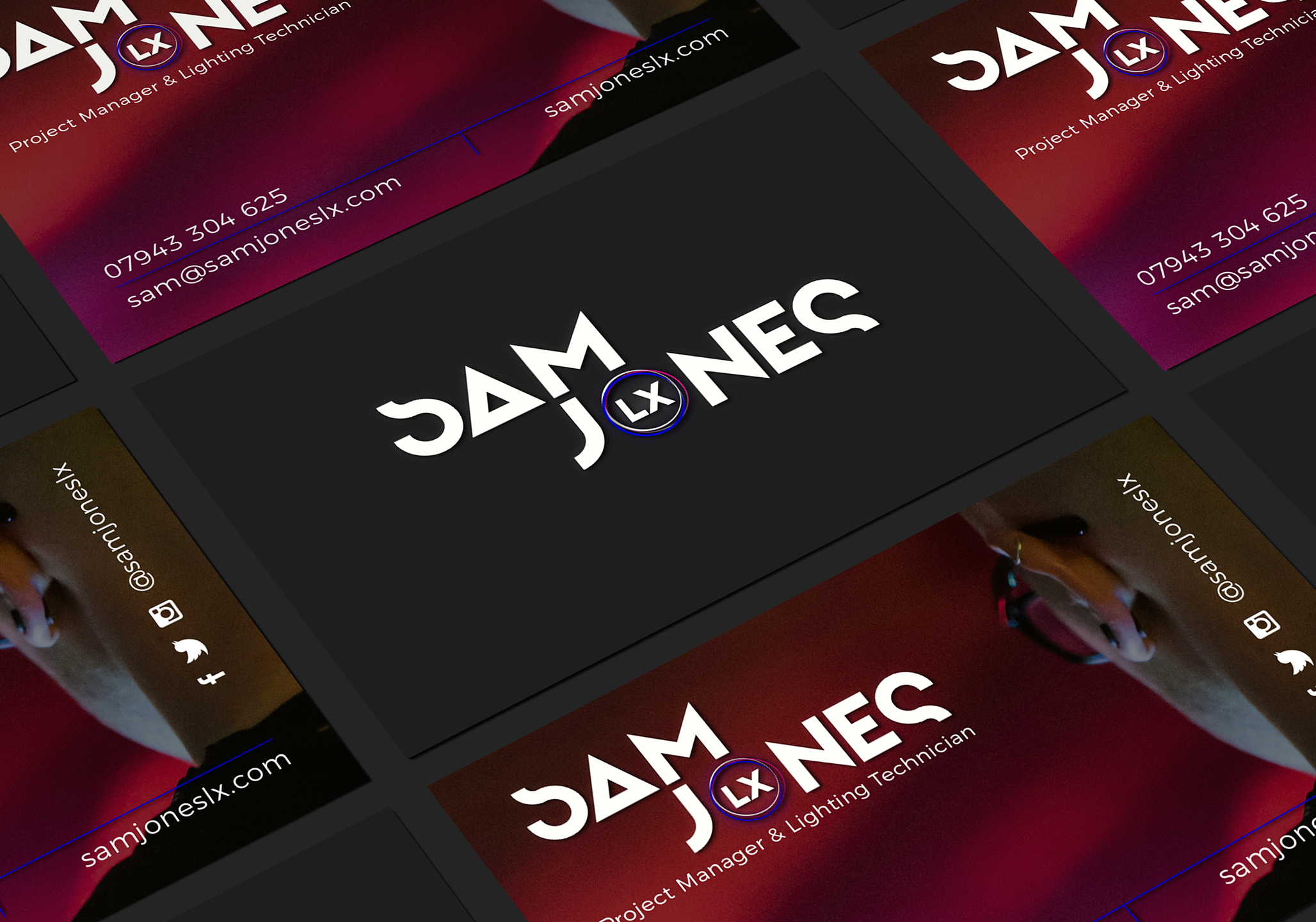 Sam Jones LX business card designed by Dephined