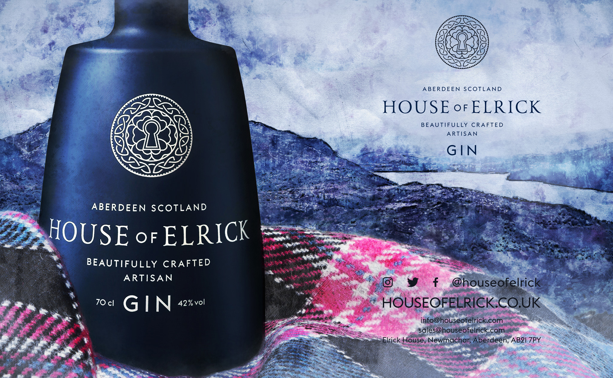Double page spread advert created for House of Elrick's to advertise their small batch, artisan gin. It was published in London LUX magazine by Dephined | The Shape of Design